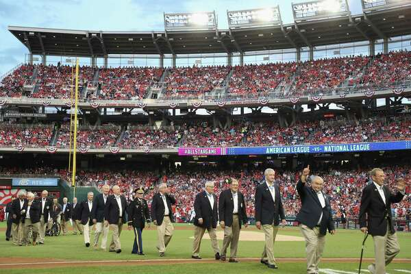 WASHINGTON, DC - JULY 17:  Medal of Honor Recipients walk off the field during the 89th MLB All-Star Game, presented by Mastercard at Nationals Park on July 17, 2018 in Washington, DC.