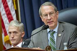 Rep. Bob Goodlatte, a Republican from Virginia and chairman of the House Judiciary Committee, speaks as Rep. Trey Gowdy, a Republican from South Carolina, left, listens during a joint House Judiciary, Oversight and Government Reform Committees hearing with FBI agent Peter Strzok on Thursday. MUST CREDIT: Bloomberg photo by Andrew Harrer
