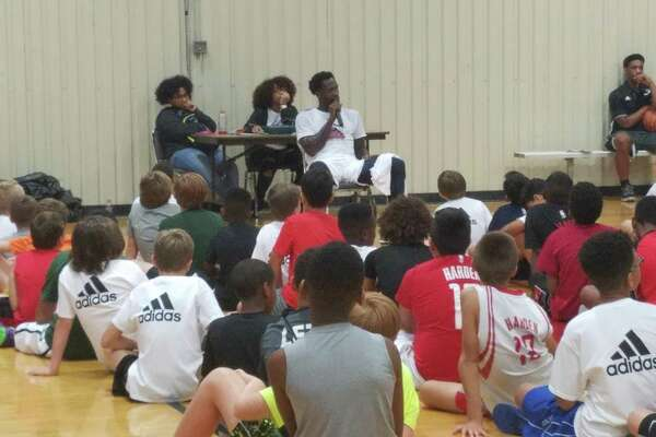 In 2017, Patrick Beverley speaks to the campers at the Patrick Beverley Camp Lockdown, which was hosted at The Gym in Humble the week of July 17-21