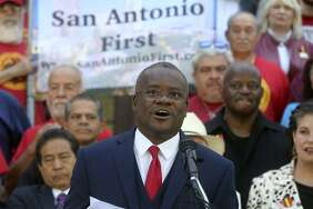 Chris Steele, president of the San Antonio firefighters union, speaks Wednesday April 11, 2018 on the steps of City Hall about a petition campaign to call for a city charter amendment election in November. Steele and his supporters delivered thousands of signatures to the city clerk after he and his supporters voiced their opinions outside of city hall.