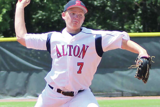 Alton Post 126 pitcher Zach Knight, shown in a start earlier this season, came on in the eighth inning to get two Belleville outs before Alton scored in the bottom of the inning Tuesday night at Alton High in Godfrey to remain in the winners bracket of the District 22 Tourney.