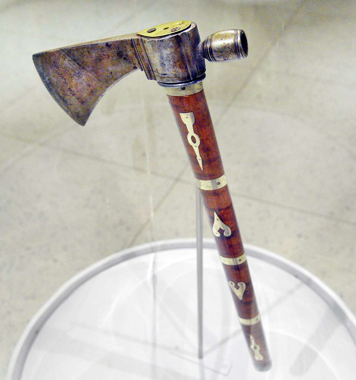An 18th-century Native American tomahawk gifted to Cornplanter, the respected Seneca leader, by President George Washington in 1792 on exhibit at the NYS Museum Tuesday July 17, 2018 in Albany, NY. Thanks to the generosity of an anonymous collector, the pipe tomahawk was returned to the State Museum's collections last month. (John Carl D'Annibale/Times Union)