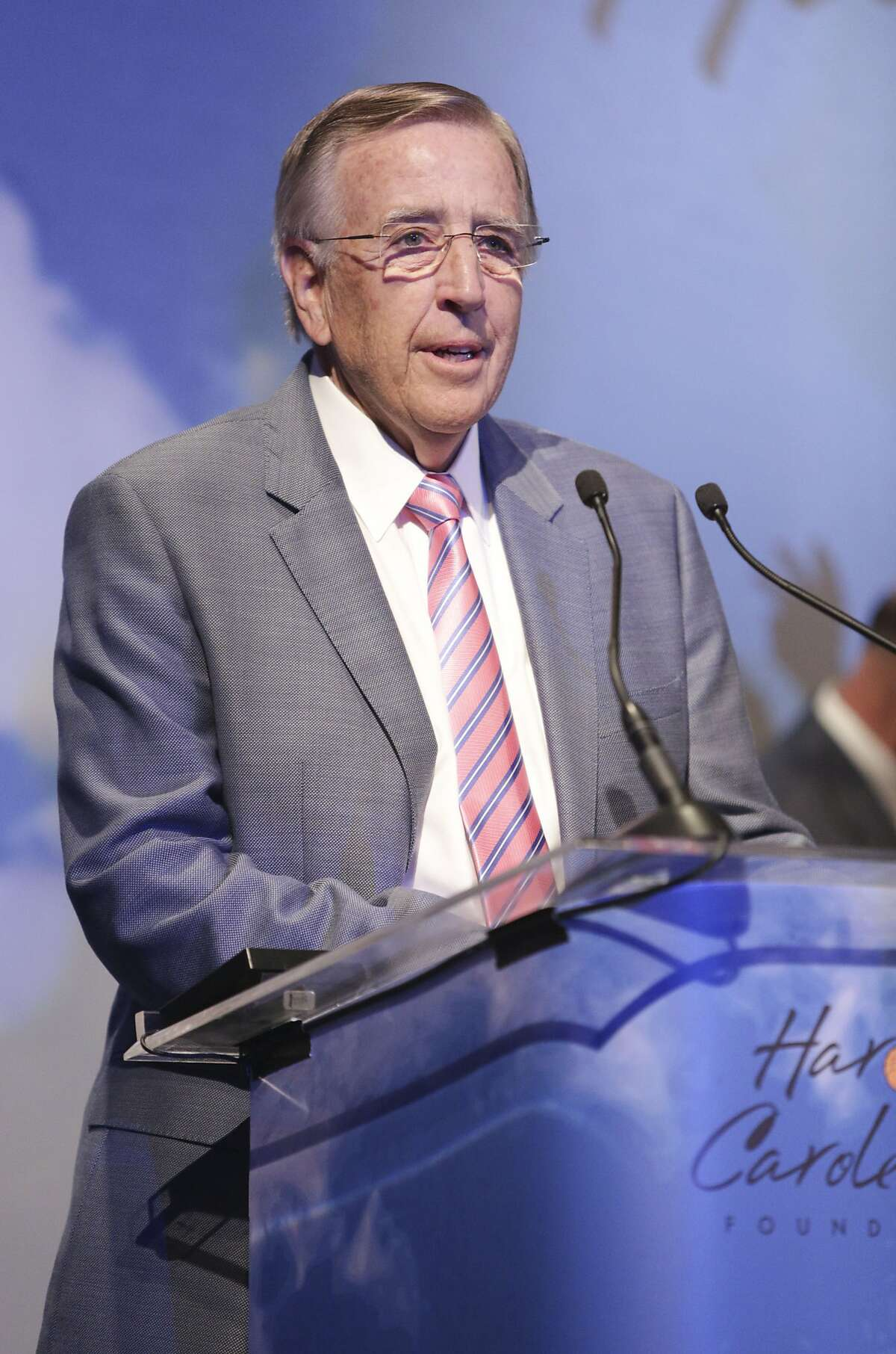 LOS ANGELES, CA - AUGUST 08: Sportscaster Brent Musburger speaks at the 14th Annual Harold & Carole Pump Foundation Event on August 8, 2014 in Los Angeles, California. (Photo by Tiffany Rose/WireImage)