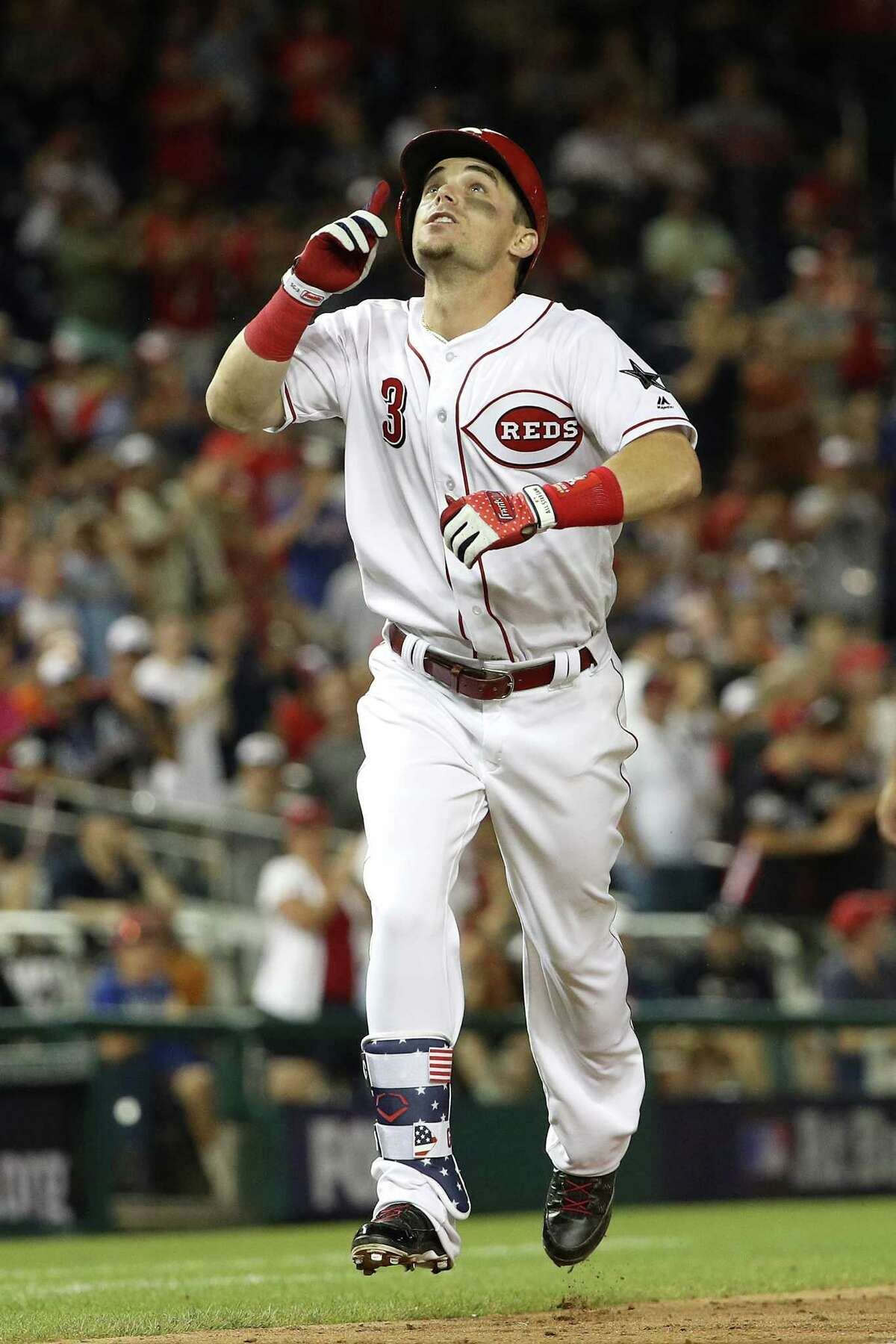 WASHINGTON, DC - JULY 17: Scooter Gennett #3 of the Cincinnati Reds and National League celebrates after a two-run home run in the ninth inning to tie the game against the American League during the 89th MLB All-Star Game, presented by Mastercard at Nationals Park on July 17, 2018 in Washington, DC. (Photo by Patrick Smith/Getty Images)