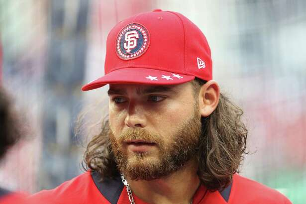 WASHINGTON, DC - JULY 16:  Brandon Crawford #35 of the San Francisco Giants and the National League looks on during Gatorade All-Star Workout Day at Nationals Park on July 16, 2018 in Washington, DC.  (Photo by Patrick Smith/Getty Images)