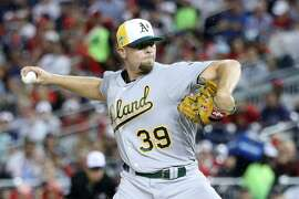 WASHINGTON, DC - JULY 17:  Blake Treinen #39 of the Oakland Athletics and the American League pitches in the sixth inning against the National League during the 89th MLB All-Star Game, presented by Mastercard at Nationals Park on July 17, 2018 in Washington, DC.  (Photo by Rob Carr/Getty Images)