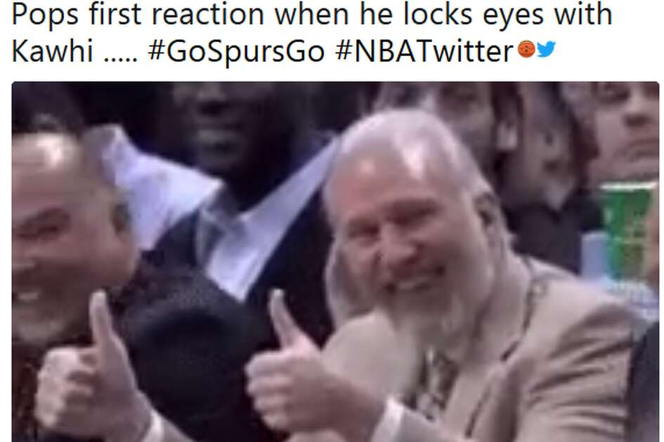 @MichaelRehome: Pops first reaction when he locks eyes with Kawhi ..... #GoSpursGo #NBATwitter