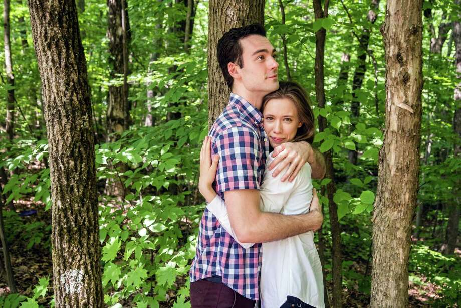 """Woodrow Proctor andGwynedd Vetter-Drusch play Orlando and Rosalind in """"As You Like It"""" by Saratoga Shakespeare Company. Photo: Eric Jenks, Saratoga Shakespeare / Eric Jenks 2018"""