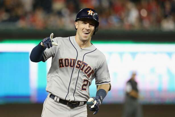 WASHINGTON, DC - JULY 17:  Alex Bregman #2 of the Houston Astros and the American League celebrates as he rounds the bases after hitting a solo home run in the tenth inning against the National League during the 89th MLB All-Star Game, presented by Mastercard at Nationals Park on July 17, 2018 in Washington, DC.  (Photo by Rob Carr/Getty Images)