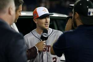 WASHINGTON, D.C. - JULY 17:  Alex Bregman #2 of the Houston Astros gives an interview after winning Al-Star MVP during the 89th MLB All-Star Game at Nationals Park on Tuesday, July 17, 2018 in Washington, D.C. (Photo by Adam Glanzman/MLB Photos via Getty Images)