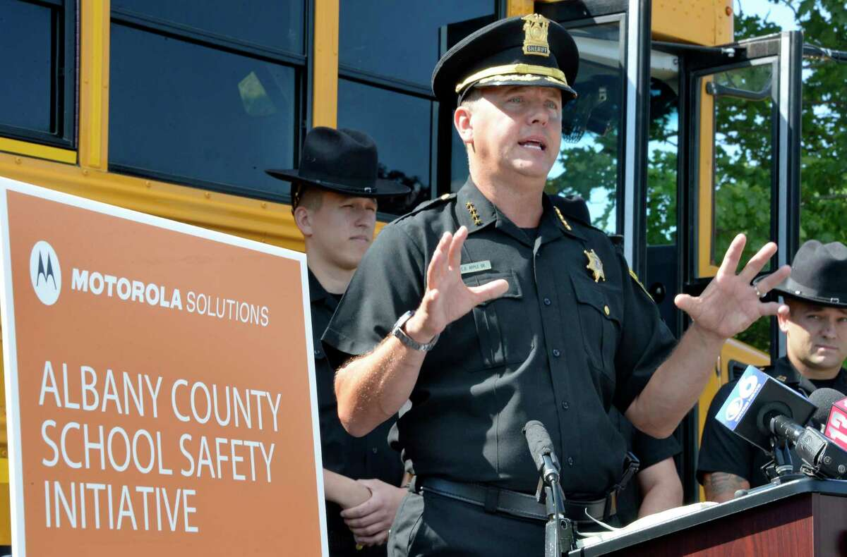 Albany County Sheriff Craig Apple announces the details of a multifaceted strategy to promote school safety at a news conference at Ravena Coeymans Selkirk High School Wednesday July 18, 2018 in Ravena, NY. (John Carl D'Annibale/Times Union)