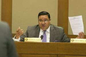 Rep. Jason Villalba, right, questions Texas Values president Jonathan Saenz as he speaks against House Bill 192 that would prohibit housing discrimination based on sexual orientation or gender identity during the House Business & Industry Committee at the Texas Capitol in Austin, Monday, April 17, 2017. (Stephen Spillman / for Express-News)
