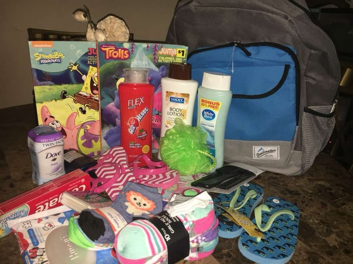 Her goal is to collect 200 book bags and personal hygiene products such as soap, toothpaste, deodorant, mouthwash, toothbrushes, socks and more.