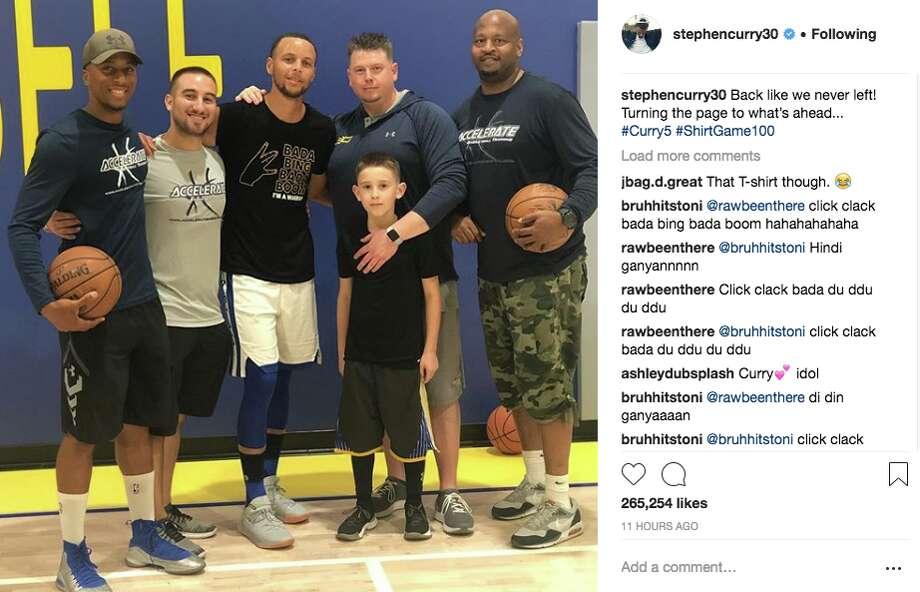 Stephen Curry sports a DeMarcus Cousins shirt. Photo: Screenshot Via Instagram