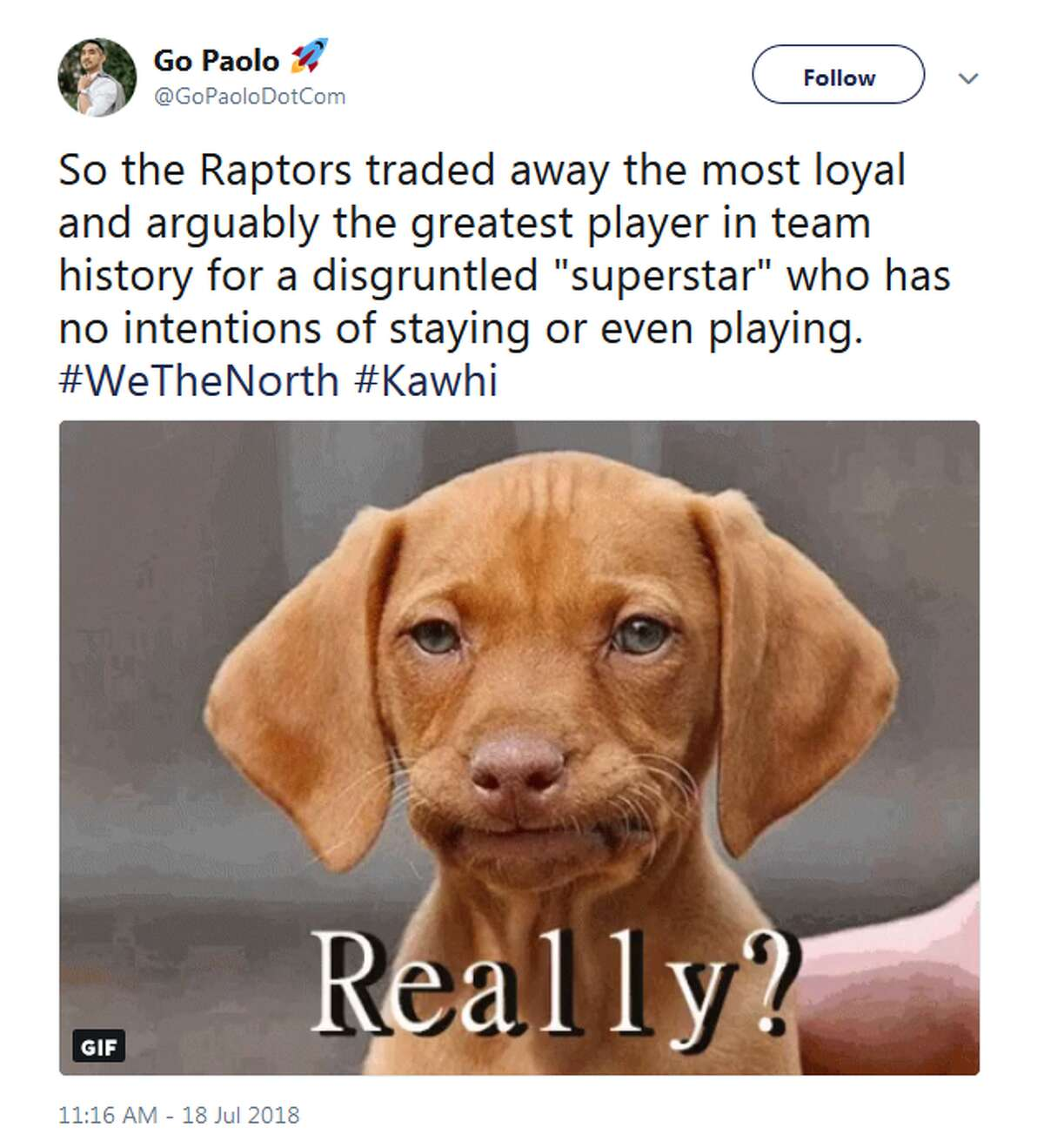 @GoPaoloDotCom: So the Raptors traded away the most loyal and arguably the greatest player in team history for a disgruntled