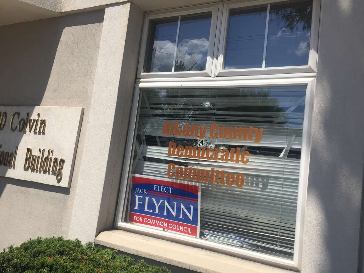 Shots were fired through the window of the headquarters of the Albany County Democratic Committee. The damage was discovered Wednesday morning, July 18, 2018.