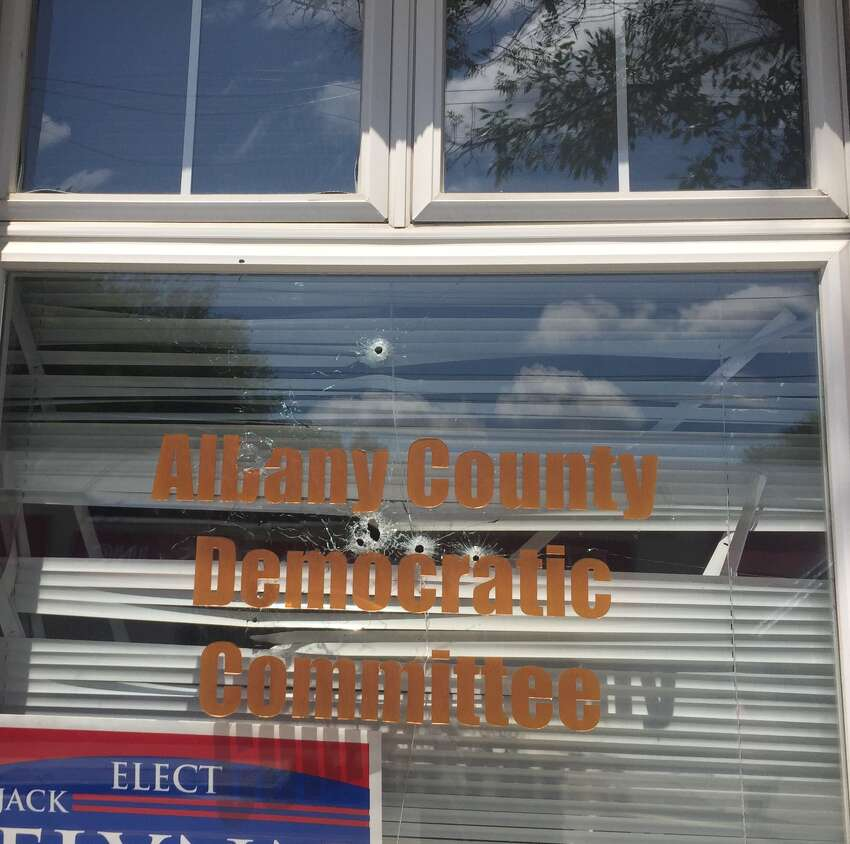Shots were fired through the window of the headquarters of the Albany County Democratic Committee. The damage was discovered Wednesday morning.