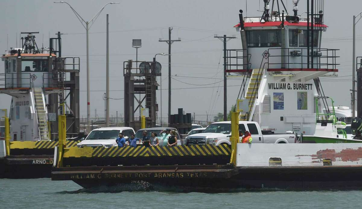 The popular Port Aransas ferry operates off Harbor Island, the site of a potential crude oil terminal with the Port of Corpus Christi that has generated controversy.