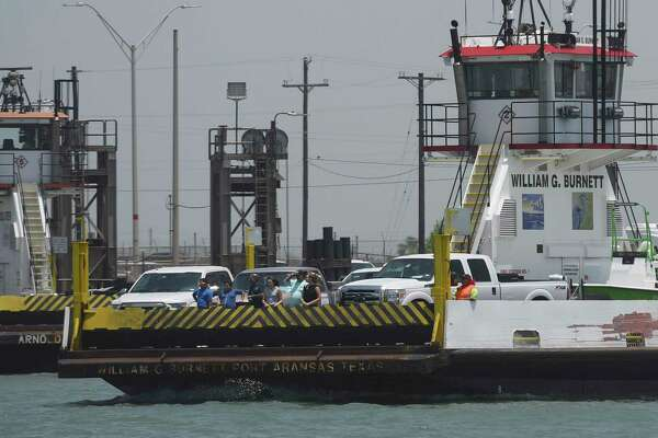 The popular Port Aransas ferry operates off Harbor Island, which is the site of a proposed crude oil terminal by the Port of Corpus Christi. Environmental concerns abound about the proposal.