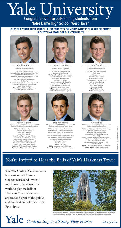 """The Register's annual """"Senior Spotlight"""" series, sponsored byYale University, spotlights talented New Haven-area high school seniors and shares information about them their dreams for the future. Congratulations to Notre Dame High School / West Haven. Photo: Kathy Emons"""