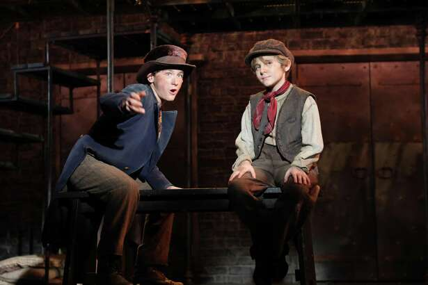 """Gavin Swartz as the Artful Dodger and Elijah Rayman as Oliver in Goodspeed Musicals' production of """"Oliver!"""""""
