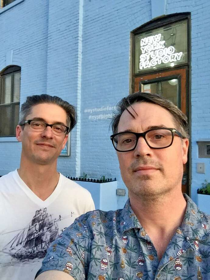 Brooklyn's Matt Statler and Mike Cobb (a Norfolk native) of the band Sons of Astro at the recording studio. The duo will give a free concert at the Norfolk Library at 9 Greenwoods Road East in Norfolk on Saturday, August 4. Photo: Contributed Photo