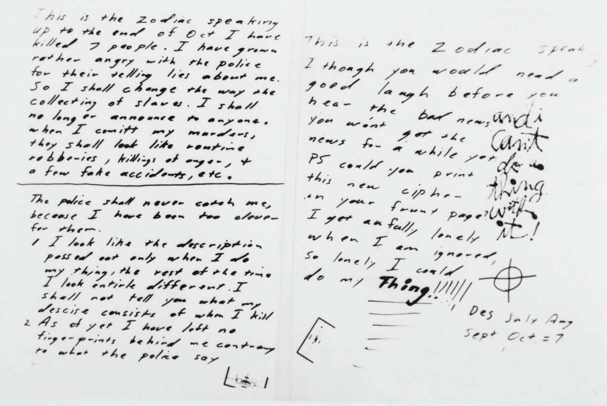 An example of a handwritten letter by the Zodiac Killer. One such letter was sent to the Times Union in 1973 from someone who claimed to be the killer. (Getty)