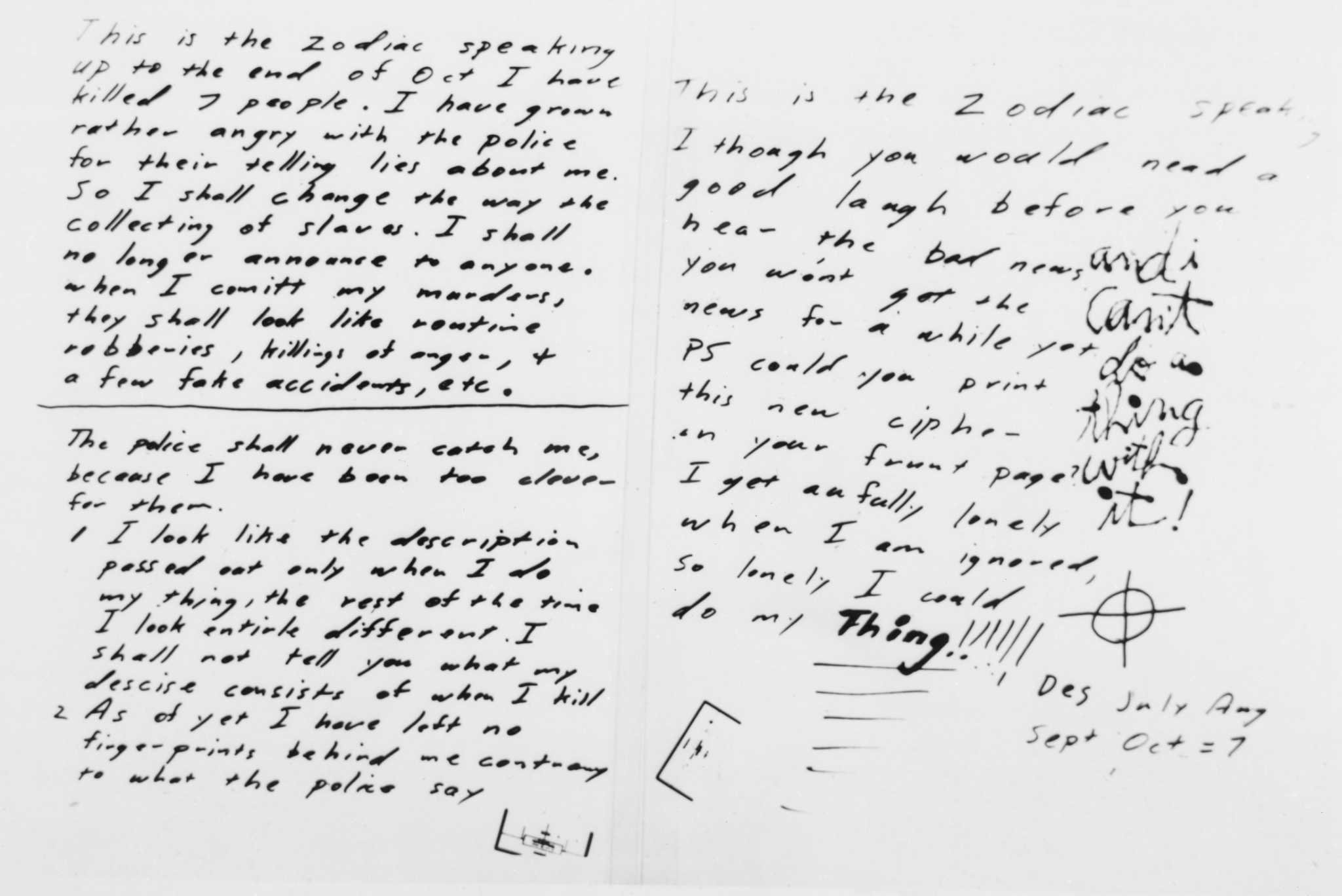 3f8add929 From the Archives: Zodiac Killer letters; and more - Times Union