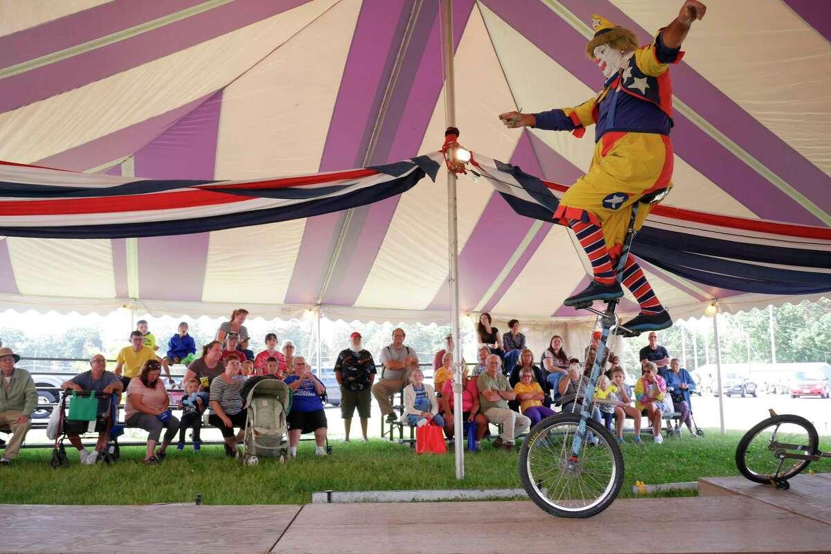 Gary Girouard from Pawtucket, RI, performs The Silent Clown act at the Schaghticoke Fair on Thursday, Aug. 31, 2017, in Schaghticoke, N.Y. (Paul Buckowski / Times Union)