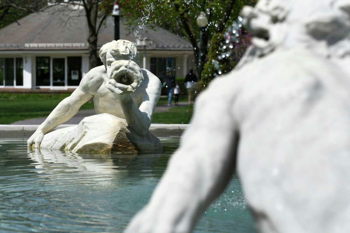 """?""""Spit and Spat?"""" sculpture in the Triton Pool at Congress Park on Monday, May 1, 2017, in Saratoga Springs, N.Y. (Will Waldron/Times Union)"""