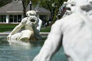 """""""Spit and Spat"""" sculpture in the Triton Pool at Congress Park on Monday, May 1, 2017, in Saratoga Springs, N.Y. (Will Waldron/Times Union)"""