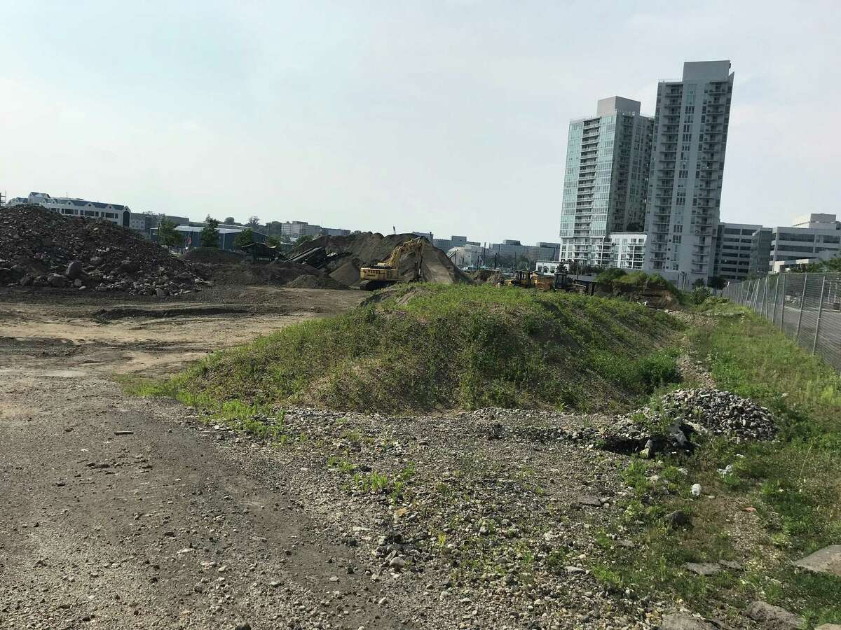 Developer Building and Land Technology began excavating its parcel on Pacific Street in June 2018. BLT plans to build two, 22-story residential towers on the waterfront site.
