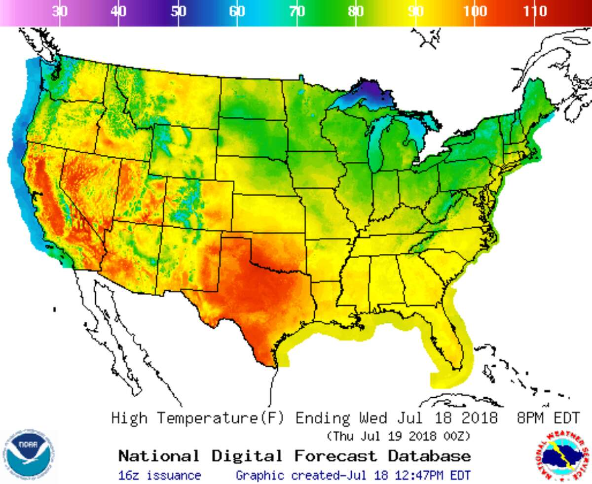 A temperature forecast by the National Weather Service.