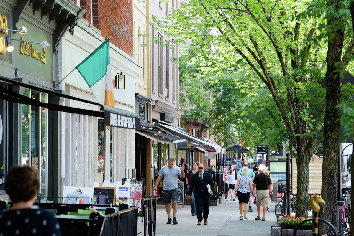 A look down Broadway on Wednesday, July 18, 2018, in Saratoga Springs, N.Y. (Paul Buckowski/Times Union)