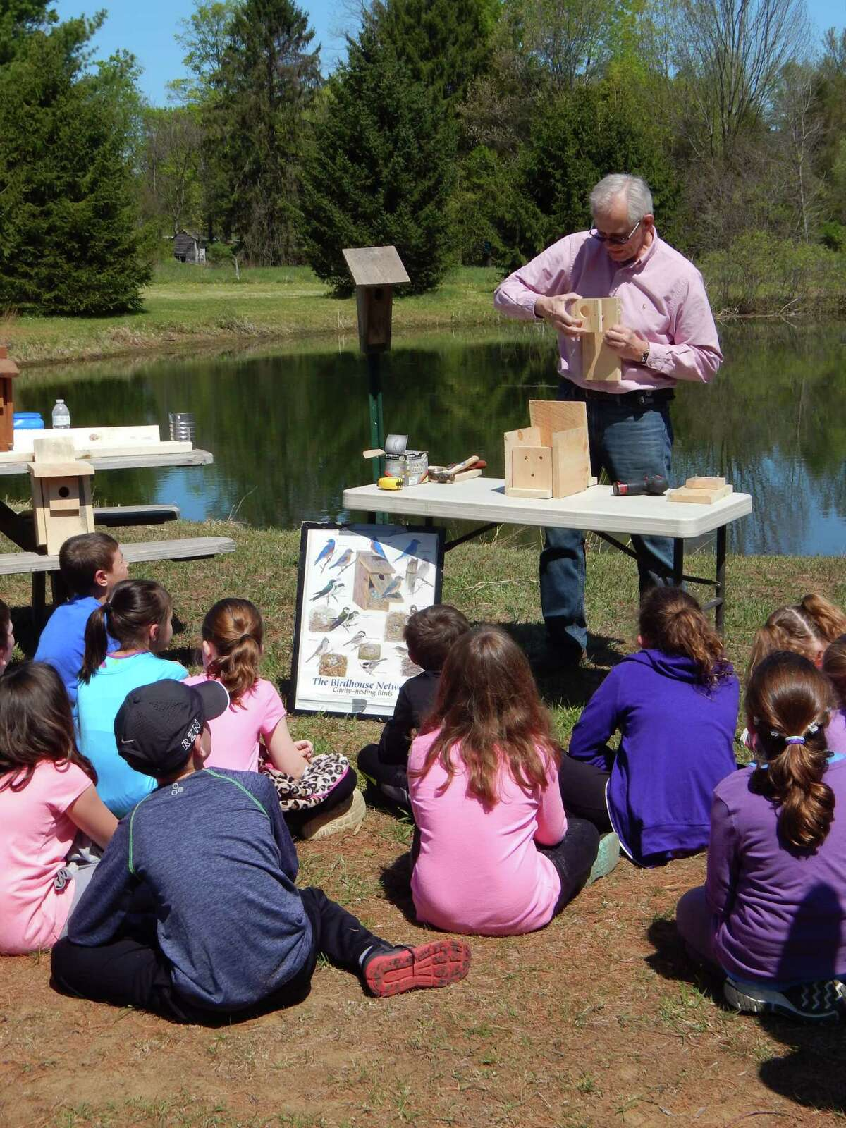 CCE Executive Director Bill Schwerd still finds time out of his busy day to educate youth from Saratoga County on Bluebird Conservation. (Provided)