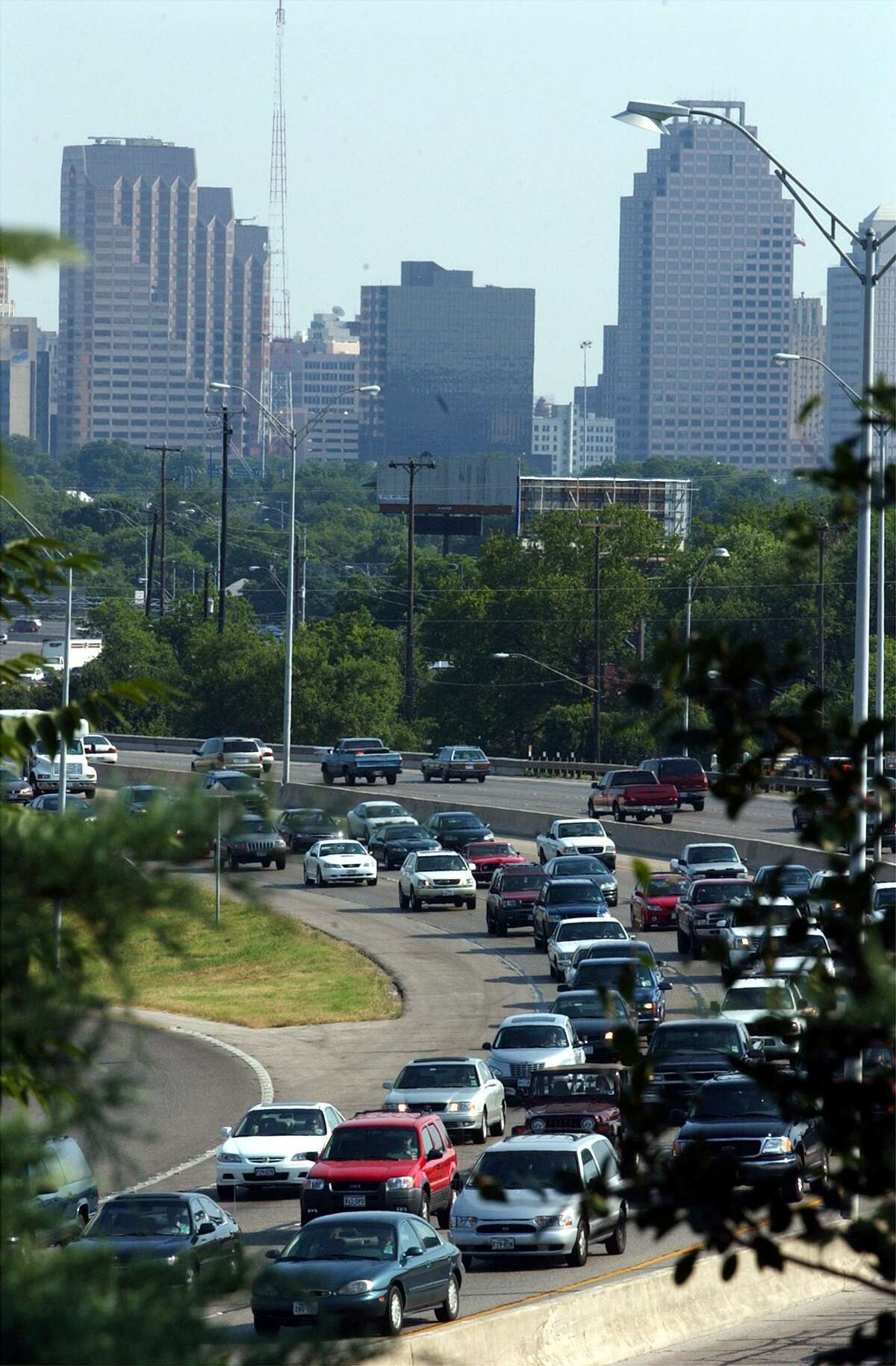 Rush hour traffic moves along U.S. 281 north of downtown in this 2002 photo.