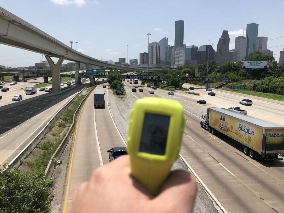 """PHOTOS: Thermal gun temperature readings of Houston landmarks on a hot summer dayWe spent a day driving around Houston on one of the hottest days of the summer to find an accurate answer to the question """"how hot is it really?"""" Photo: Craig Hlavaty"""