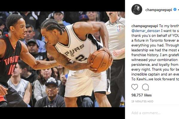 champagnepapi: To my brother @demar_derozan I want to say 10 million thank you's on behalf of YOUR city. You are a fixture in Toronto forever and you gave everything you had