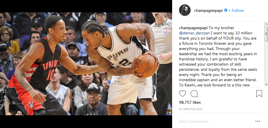 d593715d0c5e Drake is in his feelings about Kawhi Leonard