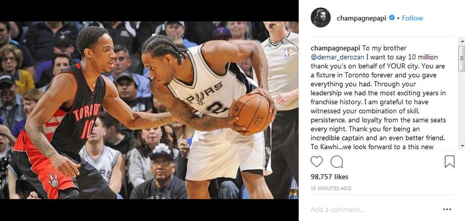 champagnepapi: To my brother @demar_derozan I want to say 10 million thank you's on behalf of YOUR city. You are a fixture in Toronto forever and you gave everything you had Photo: Instagram Screengrab