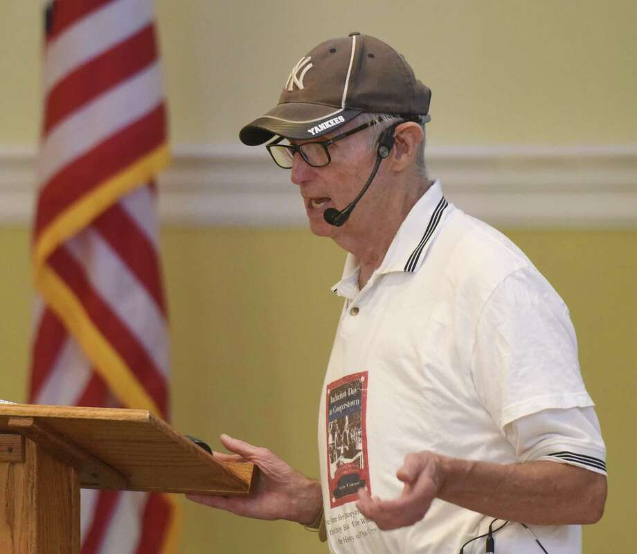 Baseball historian Dennis Corcoran discusses the baseball Hall of Fame and election process during the Retired Men's Association weekly speaker series at First Presbyterian Church in Greenwich, Conn. Wednesday, July 18, 2018. Photo: Tyler Sizemore / Hearst Connecticut Media / Greenwich Time