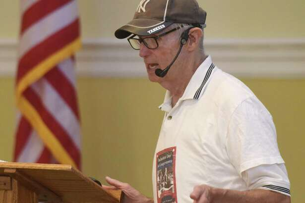 Baseball historian Dennis Corcoran discusses the baseball Hall of Fame and election process during the Retired Men's Association weekly speaker series at First Presbyterian Church in Greenwich, Conn. Wednesday, July 18, 2018.