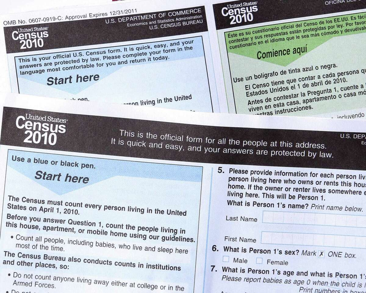 Copies of the 2010 Census forms are shown in this March 2010 photo.