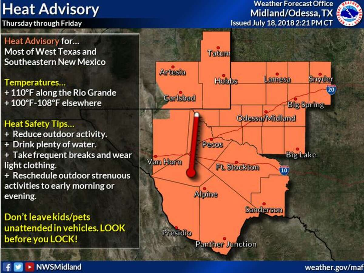 Hot temperatures will continue into next week. A Heat Advisory is in effect Thursday through Friday. Stay hydrated!