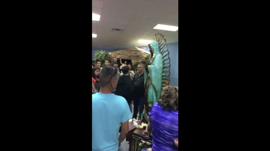 Believers say a statue of the Virgin Mary appears to be crying at Our Lady of Guadalupe Catholic Church in Hobbs, N.M. Photo: Screenshot