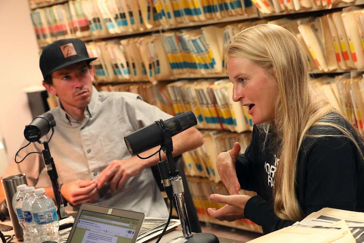 Everest mountain guide Adrian Ballinger (l to r) and pro rock climber Emily Harrington answer questions while recording a podcast on Monday, July 16, 2018 in San Francisco, Calif.