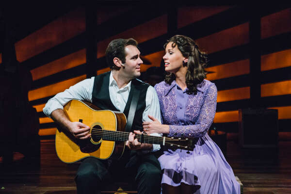 """Ben Hope and Katie Barton in """"Ring of Fire: The Music of Johnny Cash,"""" Stages Repertory Theatre, 2018"""