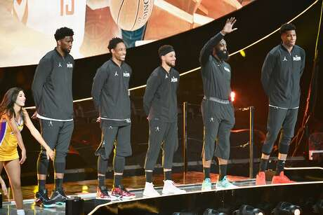 LOS ANGELES, CA - FEBRUARY 18: (L-R) Joel Embiid, DeMar Derozan, Stephen Curry, James Harden and Giannis Antetokounmpo attend the NBA All-Star Game 2018 at Staples Center on February 18, 2018 in Los Angeles, California. (Photo by Allen Berezovsky/Getty Images) Photo: Allen Berezovsky / Getty Images