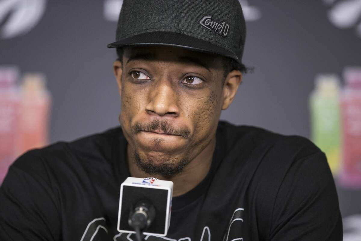 FILE - Toronto Raptors DeMar DeRozan talks to the media during a season ending availability after the Raptors ended their season, losing in a four game sweep to the Cleveland Cavaliers.
