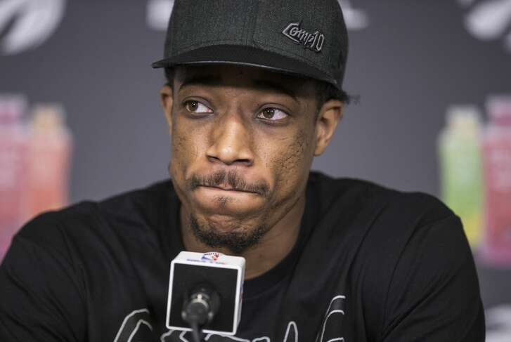 MAY 8 - Toronto Raptors DeMar DeRozan talks to the media during a season ending availability at the BioSteel Centre, Toronto. The Raptors ended their season, losing in a four game sweep tot the Cleveland Cavaliers.  May 8, 2018 Bernard Weil/Toronto Star        (Bernard Weil/Toronto Star via Getty Images)